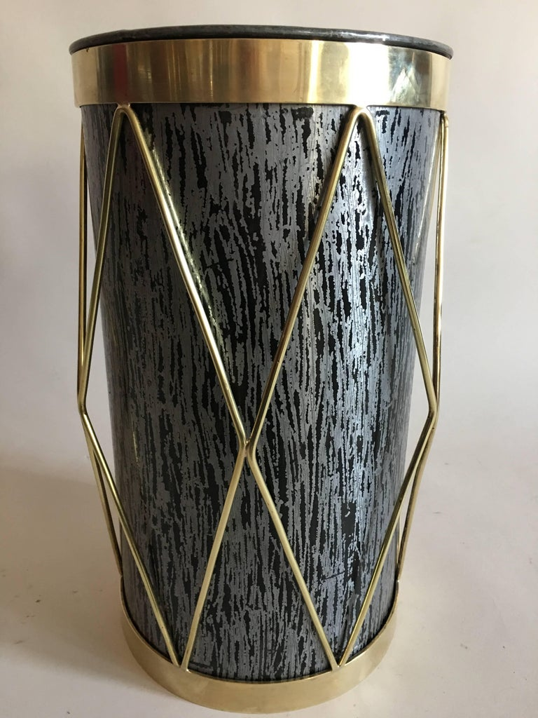 20th Century 2 French Mid-Century Modern Umbrella Stands or Waste baskets by Maison Jansen For Sale