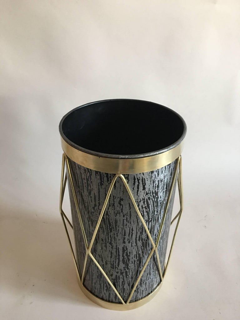 2 French Mid-Century Modern Umbrella Stands or Waste baskets by Maison Jansen For Sale 1