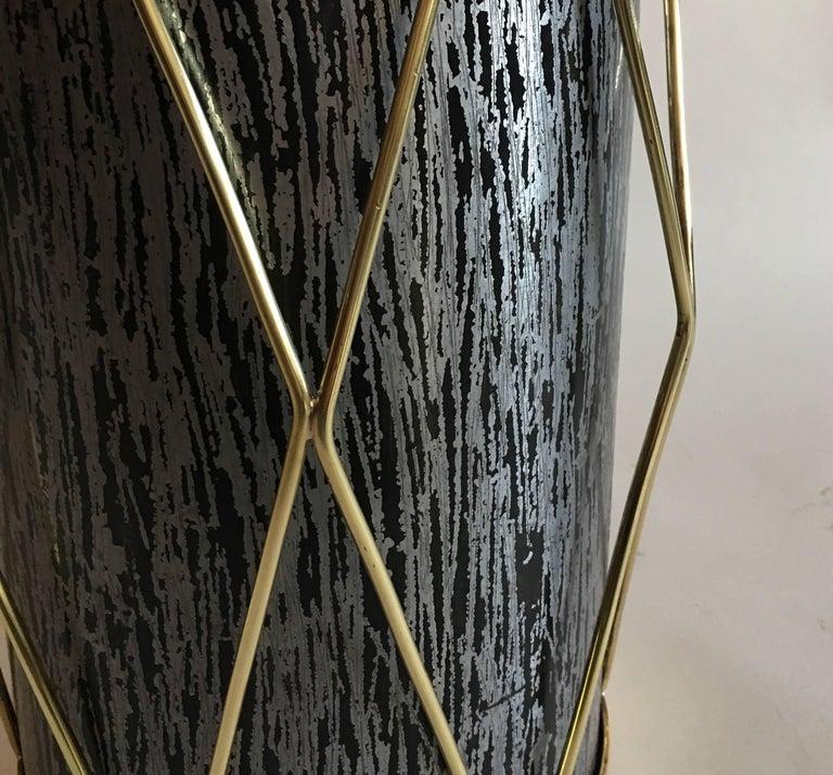 Brass 2 French Mid-Century Modern Umbrella Stands or Waste baskets by Maison Jansen For Sale