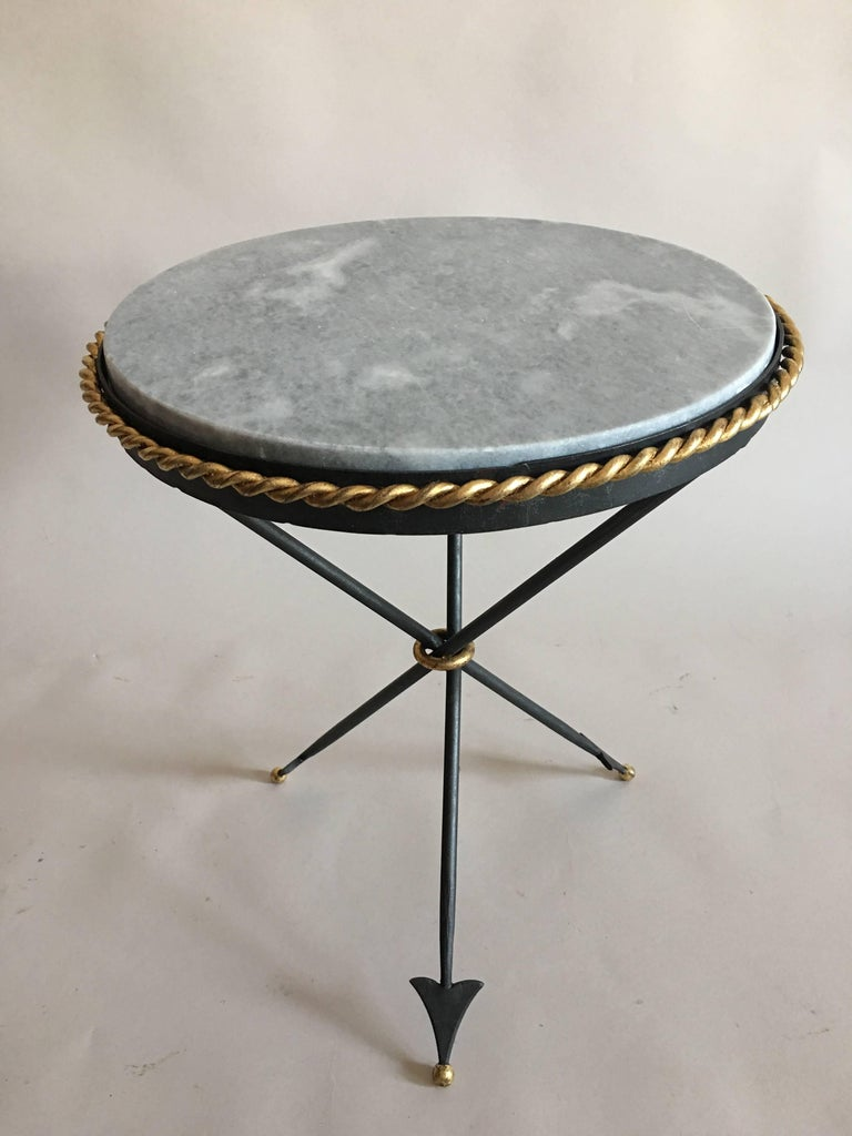 Pair of French Mid-Century Modern Neoclassical Gilt Iron and Marble Side Tables 2