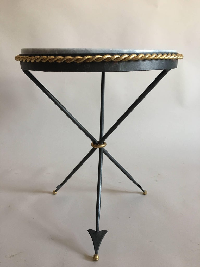 Pair of French Mid-Century Modern Neoclassical Gilt Iron and Marble Side Tables 5