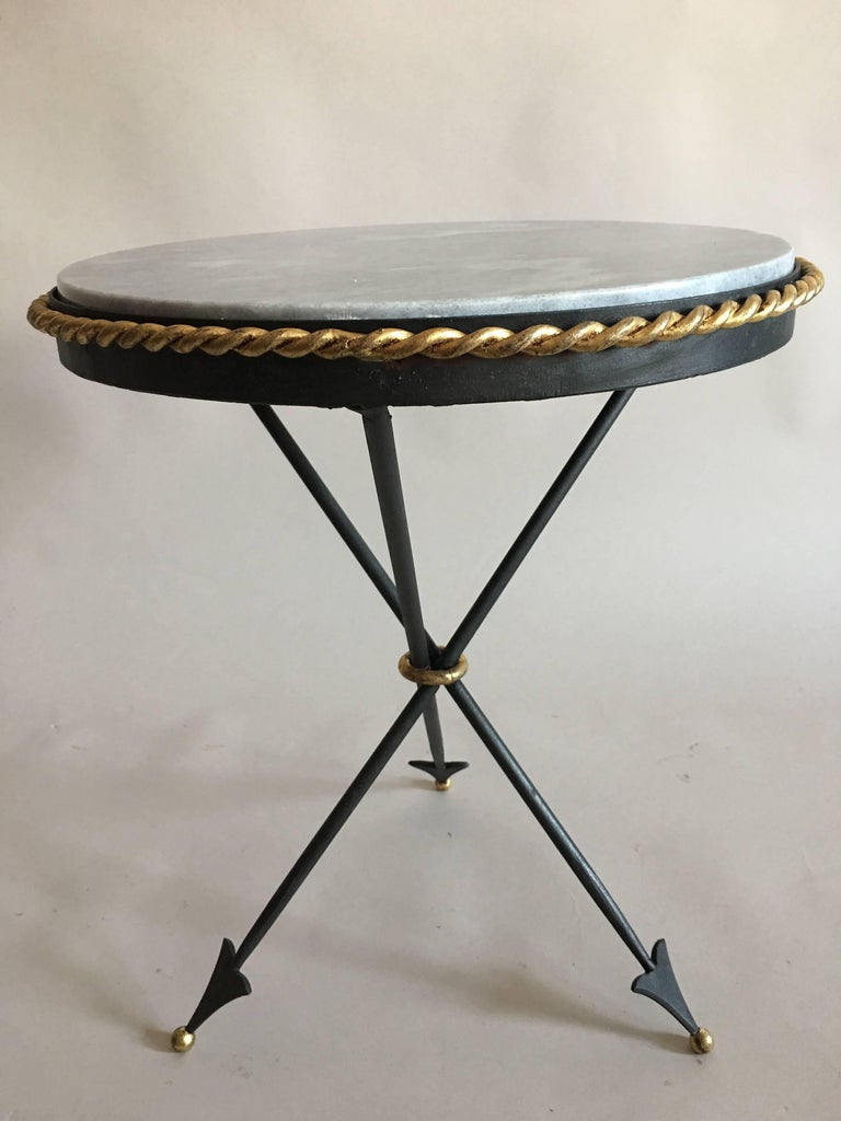 Pair of French Mid-Century Modern Neoclassical Gilt Iron and Marble Side Tables 4