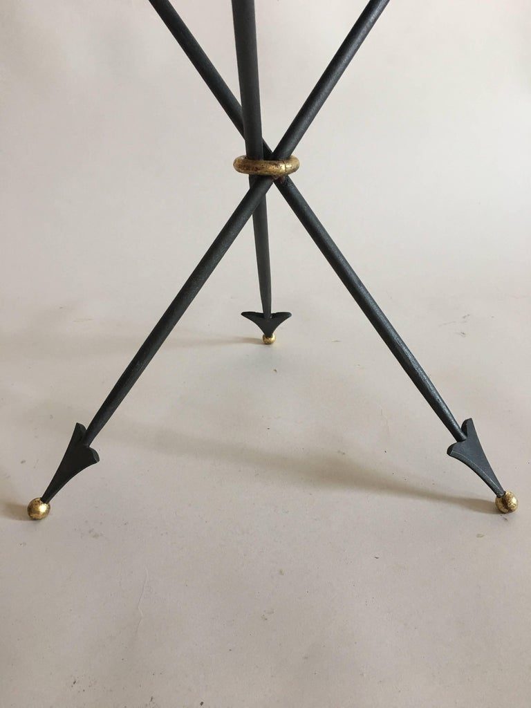 Pair of French Mid-Century Modern Neoclassical Gilt Iron and Marble Side Tables 7
