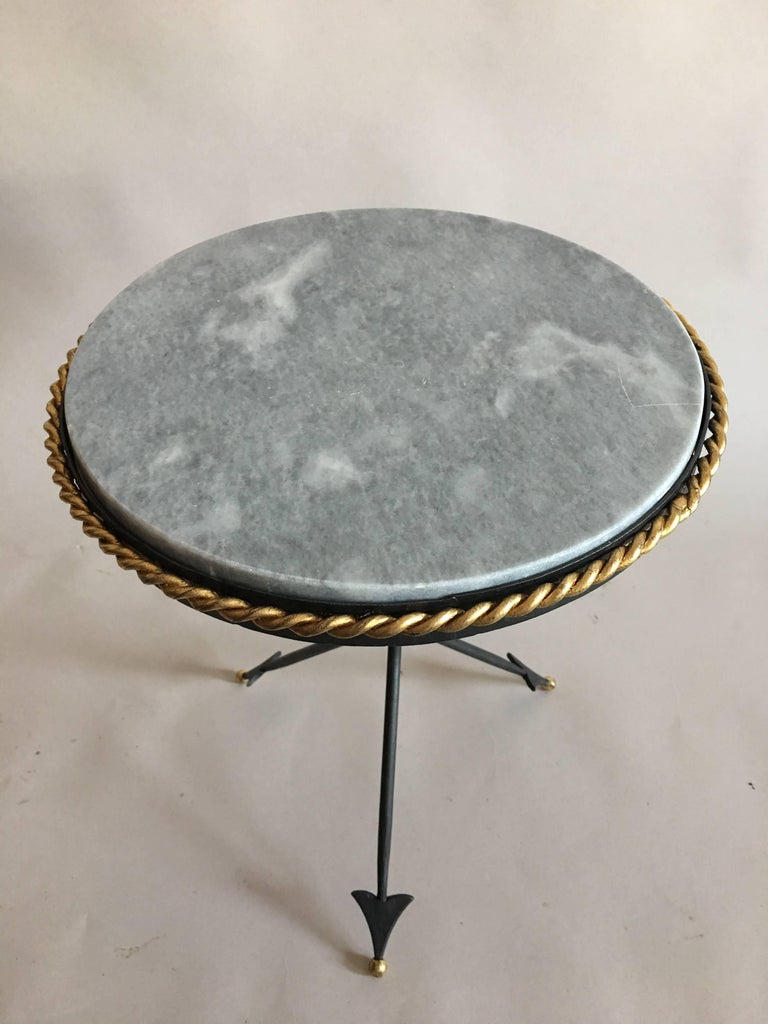 Pair of French Mid-Century Modern Neoclassical Gilt Iron and Marble Side Tables 3