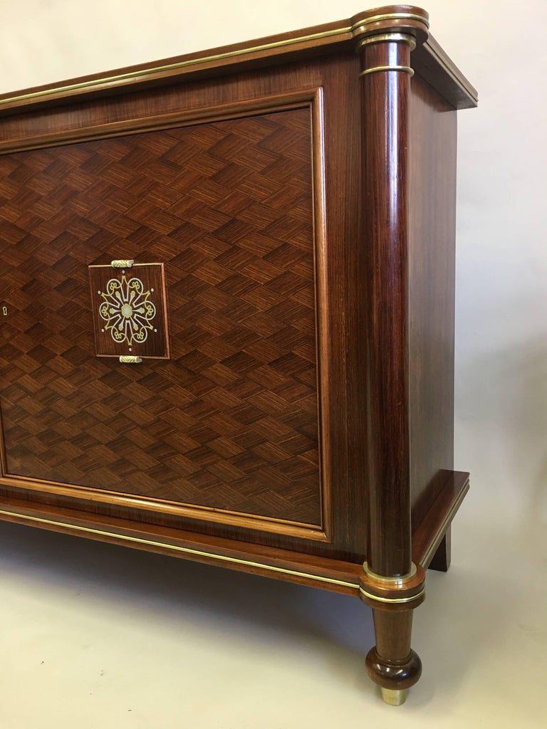 French Mid-Century Modern Neoclassical Mahogany Sideboard Signed by Jules Leleu 4