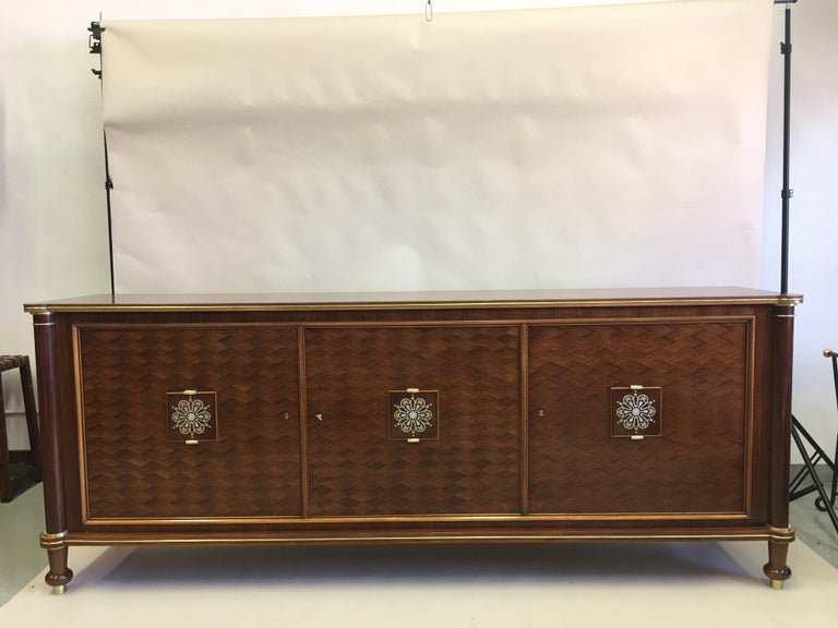 French Mid-Century Modern Neoclassical Mahogany Sideboard Signed by Jules Leleu 2