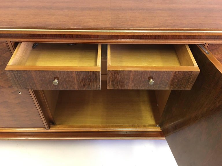 French Mid-Century Modern Neoclassical Mahogany Sideboard Signed by Jules Leleu 9