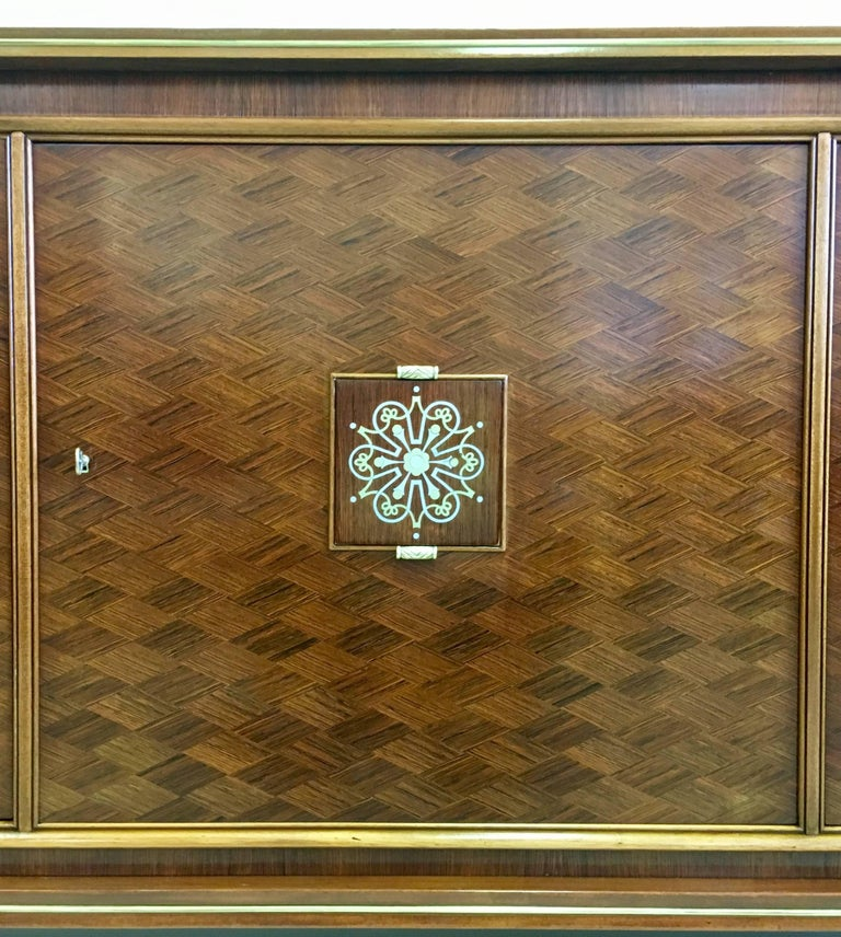 French Mid-Century Modern Neoclassical Mahogany Sideboard Signed by Jules Leleu 5