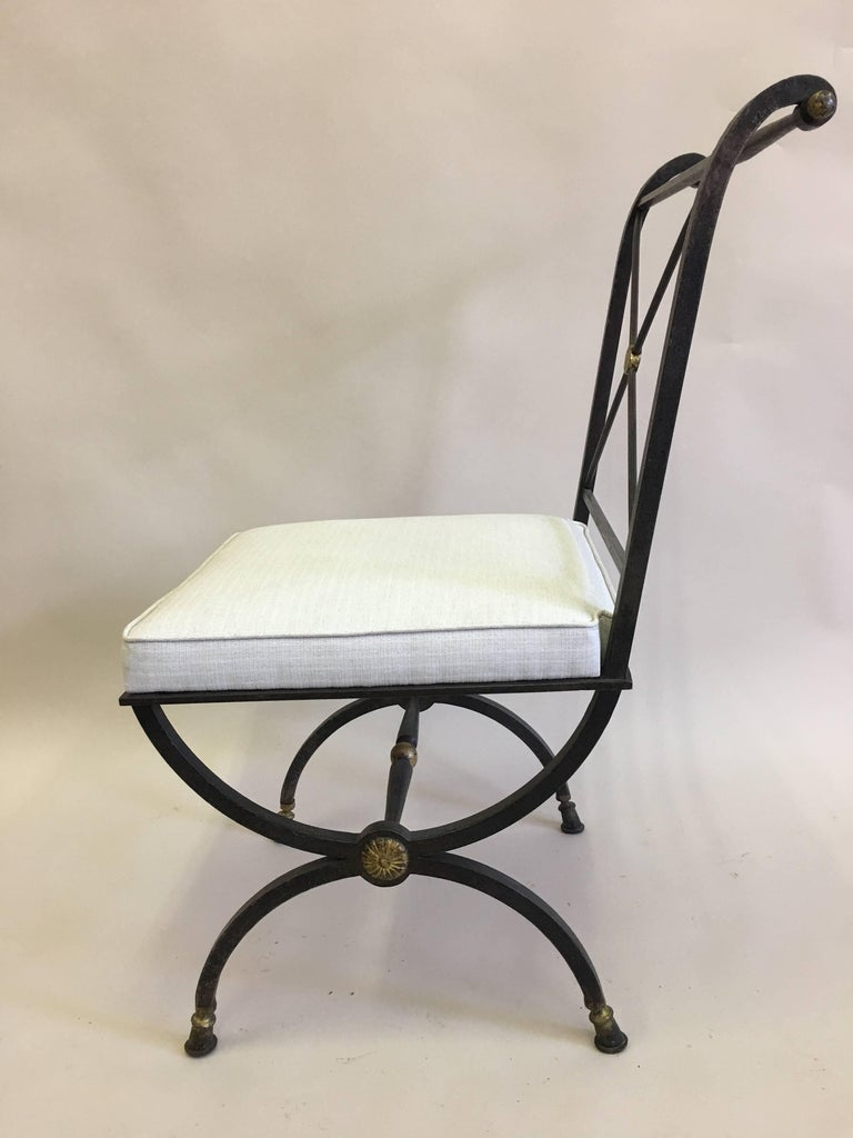 French Partially Gilt Wrought Iron Side or Desk Chair by Gilbert Poillerat In Excellent Condition For Sale In New York, NY