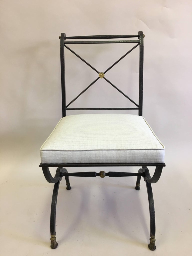 Mid-Century Modern French Partially Gilt Wrought Iron Side or Desk Chair by Gilbert Poillerat For Sale