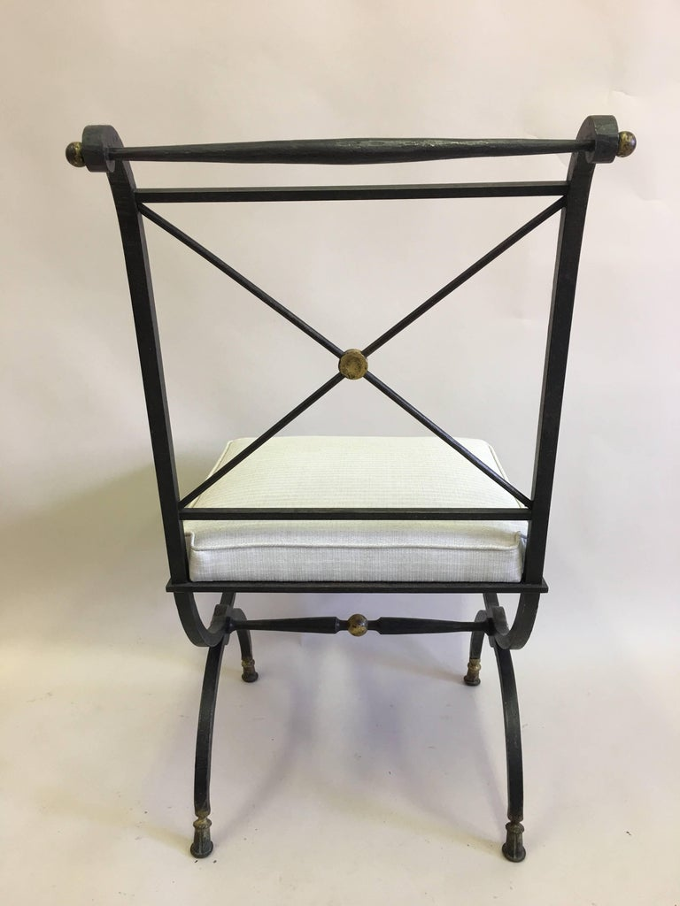 20th Century French Partially Gilt Wrought Iron Side or Desk Chair by Gilbert Poillerat For Sale