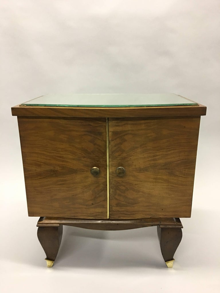 Pair of Mid-Century Modern Neoclassical Side Tables/Nightstands, Rene Prou In Good Condition For Sale In New York, NY