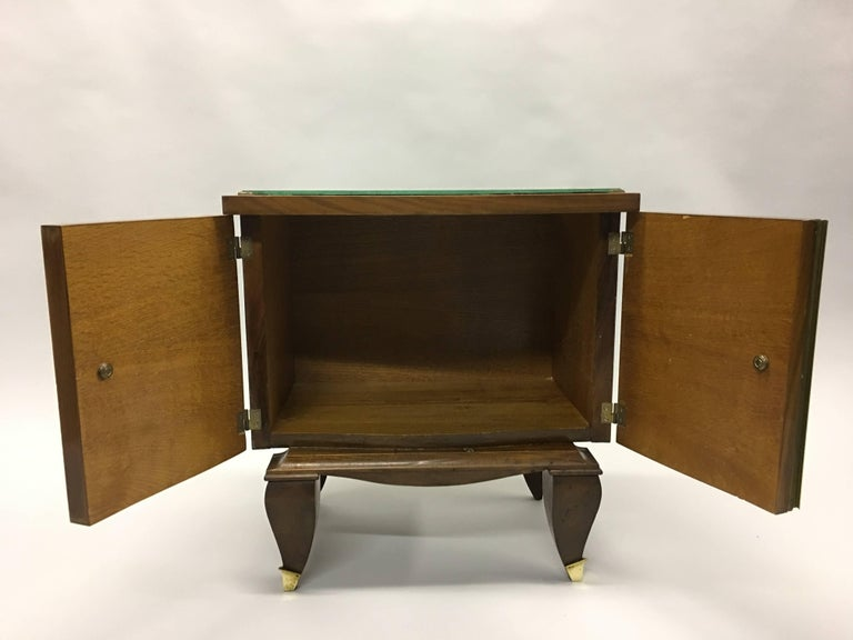 20th Century Pair of Mid-Century Modern Neoclassical Side Tables/Nightstands, Rene Prou For Sale