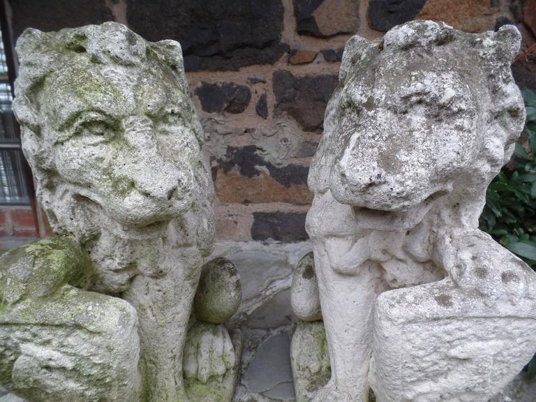 Pair of French 19th Century Hand-Carved Stone Sculptures of Lions 6