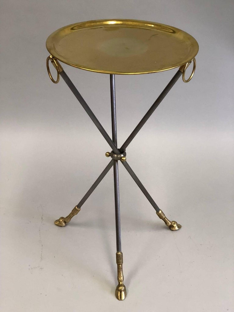 Pair of French Mid-Century Modern Steel and Brass Side Tables by Maison Baguès 2