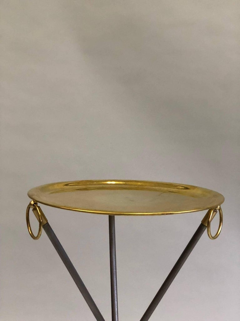 Pair of French Mid-Century Modern Steel and Brass Side Tables by Maison Baguès 6