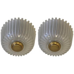 Pair of Italian Mid-Century Modern Blown Glass Flush Mount Fixtures by Seguso