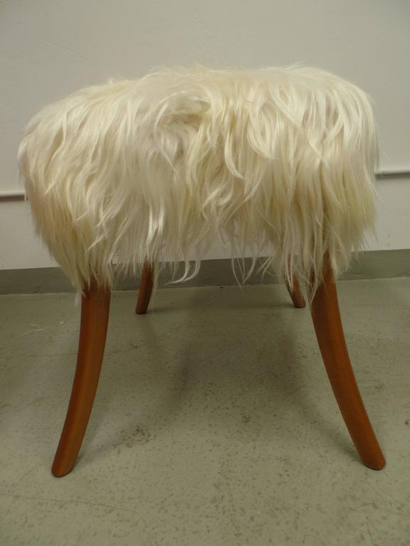 Pair of Long Hair Goatskin Benches 7