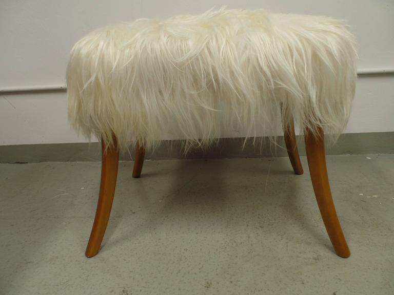 Italian Pair of Long Hair Goatskin Benches For Sale