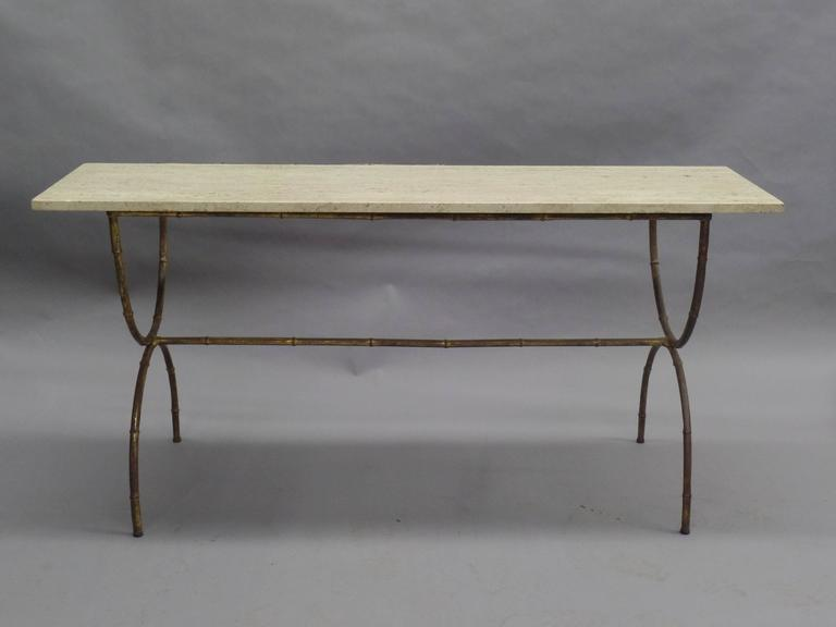 French Midcentury Faux Bamboo Sofa Table Or Console By