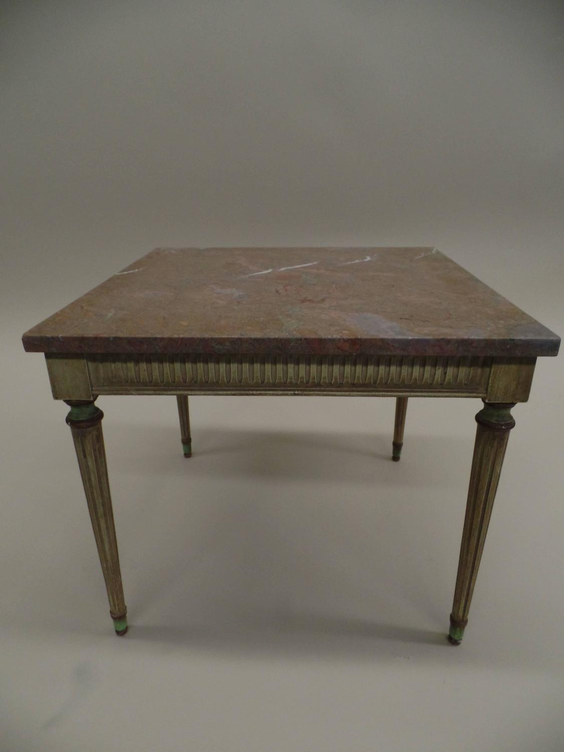 Pair Of French Painted Wood And Marble Side Tables Attributed To . Full resolution‎  picture, nominally Width 1125 Height 1500 pixels, picture with #3B3124.