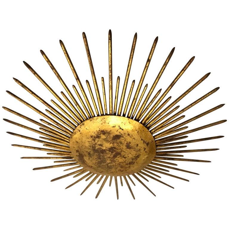 French Mid-Century Modern Neoclassical Gilt Iron Sunburst Flush Mount or Pendant
