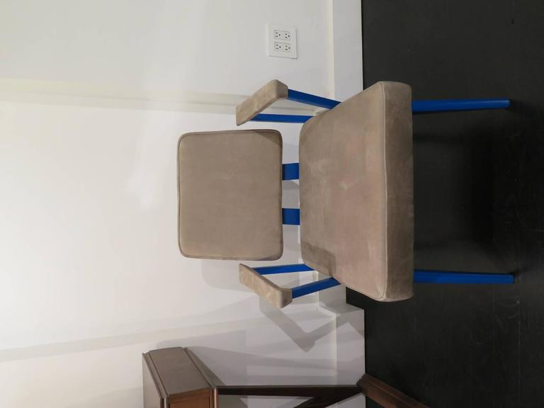 Pair of aluminum chairs powder coated in blue from From Good Form USA, 1951. New leather upholstery. Very comfy as the back  is built with a subtle bounce.