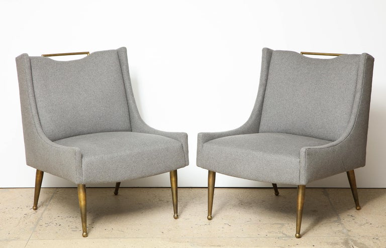 Upholstered slipper chairs on brass legs with a brass handle, wool upholstery, USA, 1950s.