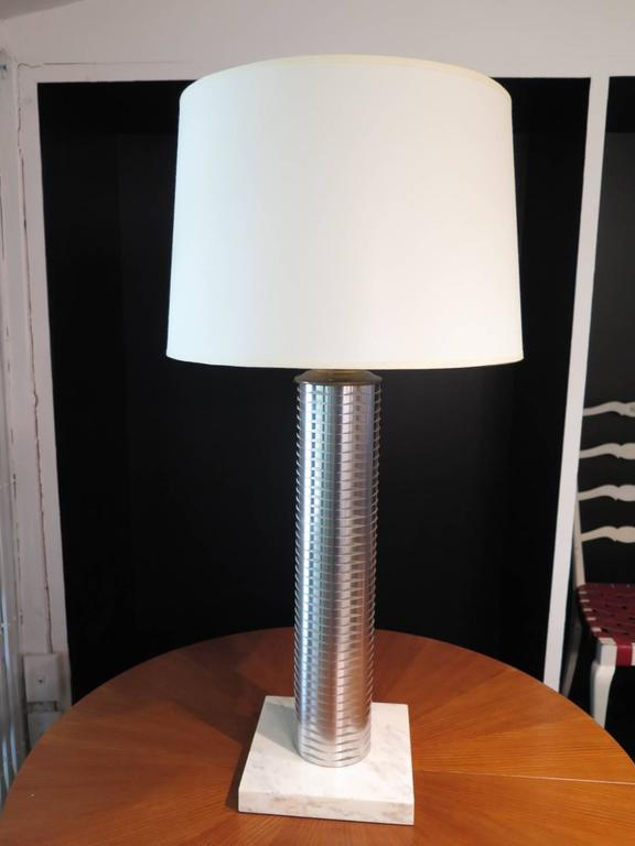 Italian Stainless Column Table Lamps For Sale