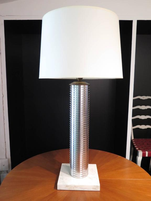 20th Century Stainless Column Table Lamps For Sale