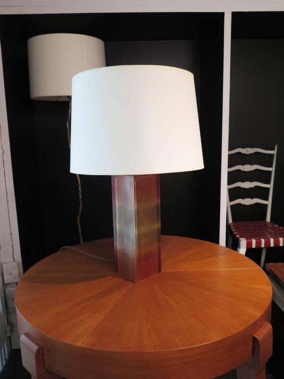 """Pair of Italian resin base lamps with stripped ombre design.  Base is 4 3/4"""" x 4 3/4""""."""