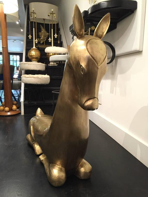 20th Century Pair of monumental  Brass Deer For Sale