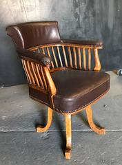 French 19th Century Walnut & Leather Swivel Office Chair