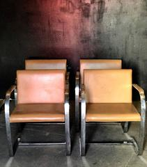 """Knoll Studio """"Brno Flat Bar"""" Lounge Armchair in Leather by Mies van der Rohe plu"""