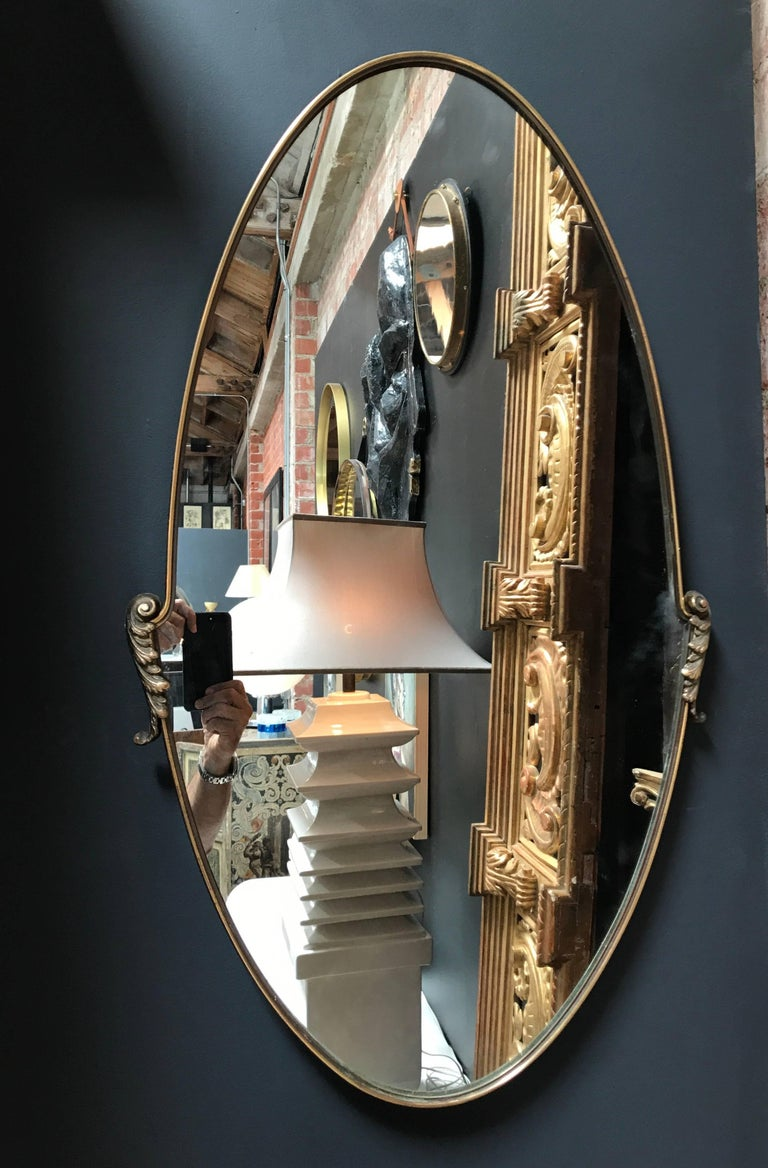 Mid-20th Century Italian Oval Mirror 1950s with Brass Frame For Sale