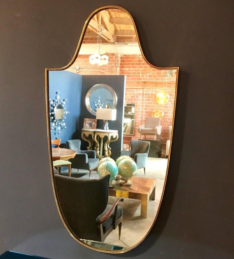 "Vintage 1960s Italian ""Scudo"" Long Mirror in Brass Trim 2"