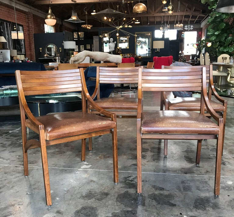 Italian walnut and leather dining chairs by Ico Parisi for Brugnoli, 1959, set of four. Mod. 110