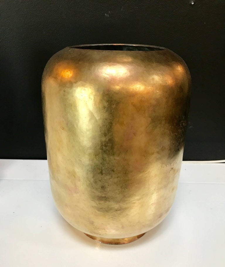 Super Chic Italian Vase in Brass, circa 1970 2