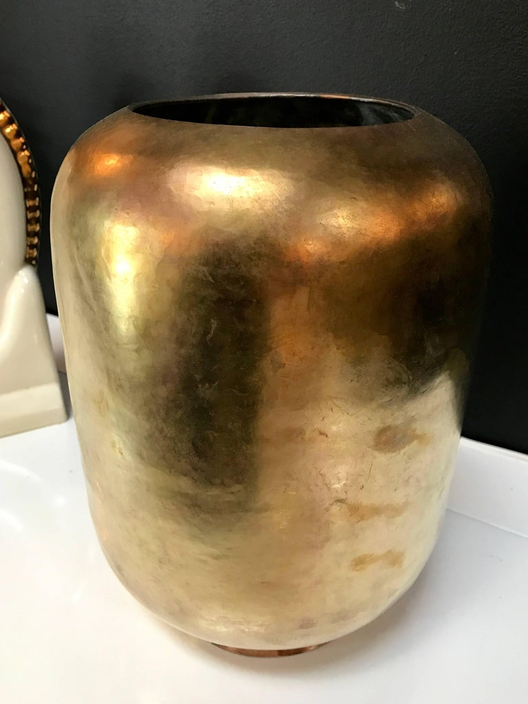 Super Chic Italian Vase in Brass, circa 1970 6