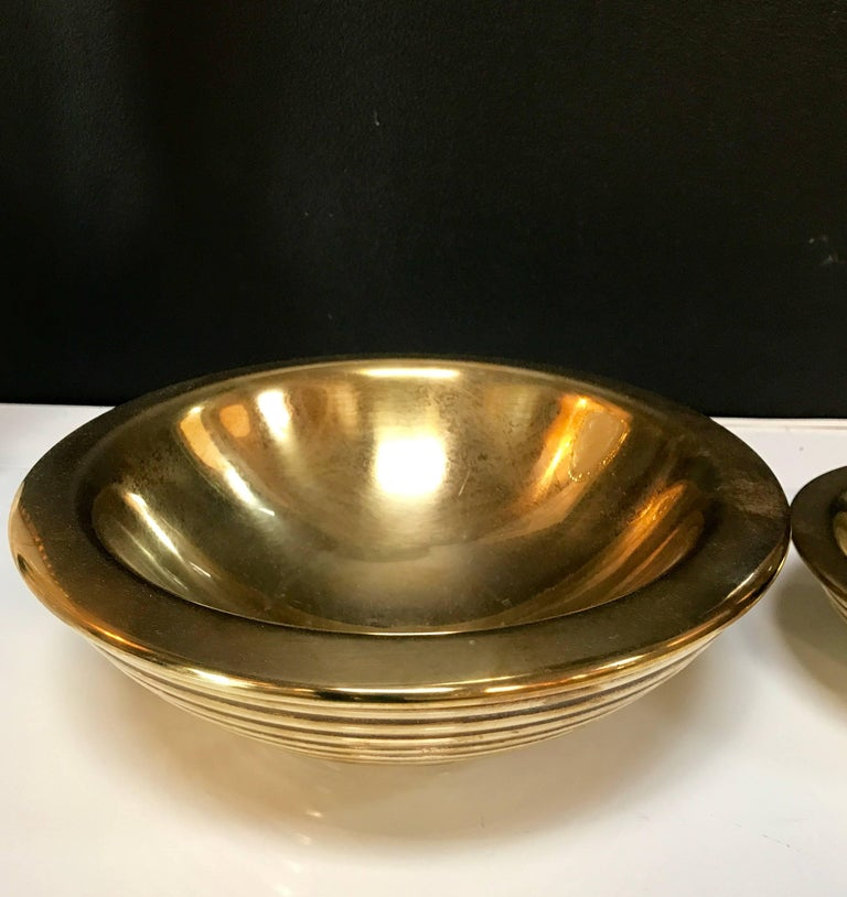 Italian Set of 1960s Nesting Bowls by Tommaso Barbi in Ottone For Sale