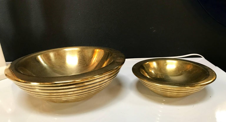 Set of 1960s Nesting Bowls by Tommaso Barbi in Ottone 2