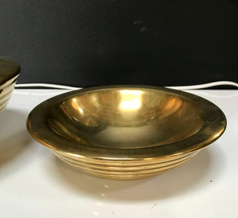 Set of 1960s Nesting Bowls by Tommaso Barbi in Ottone In Good Condition For Sale In Los Angeles, CA