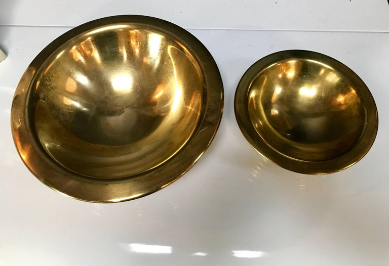 Set of 1960s Nesting Bowls by Tommaso Barbi in Ottone 5