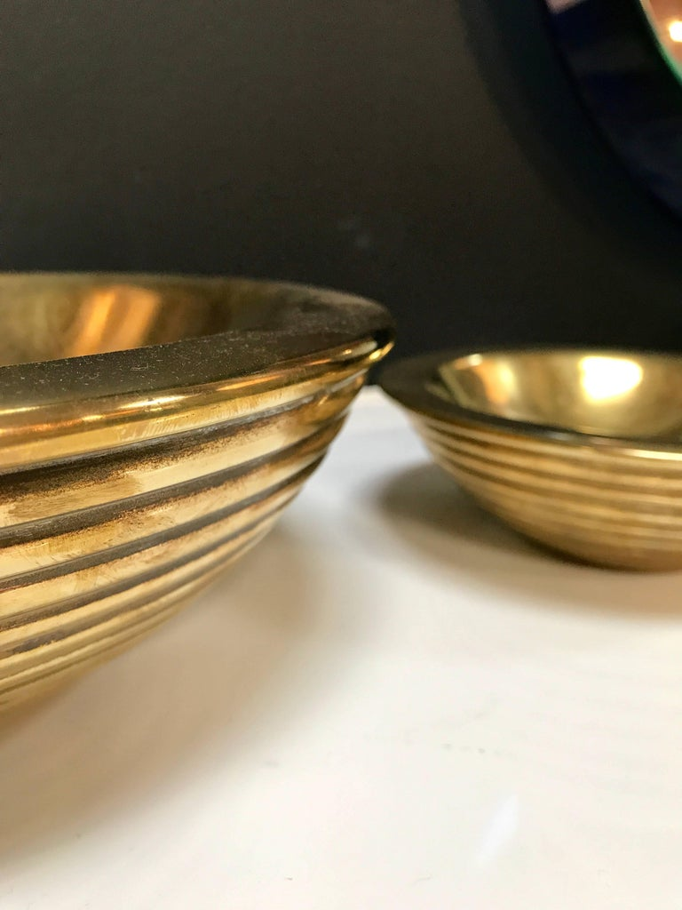 Brass Set of 1960s Nesting Bowls by Tommaso Barbi in Ottone For Sale