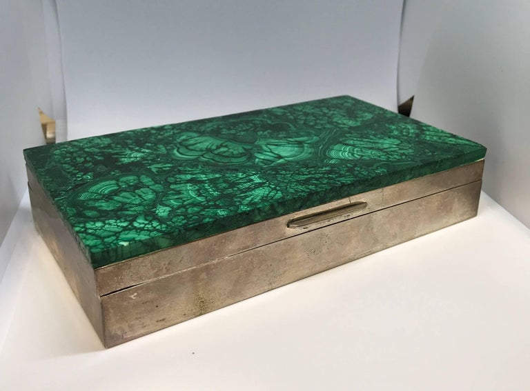 Malachite and silver jewelry dresser box, Italy, 1960s.