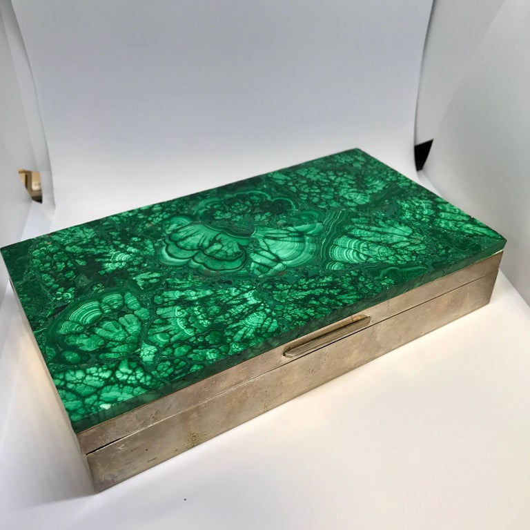 Italian Malachite and Silver Jewelry Dresser Box, Italy, 1960s For Sale