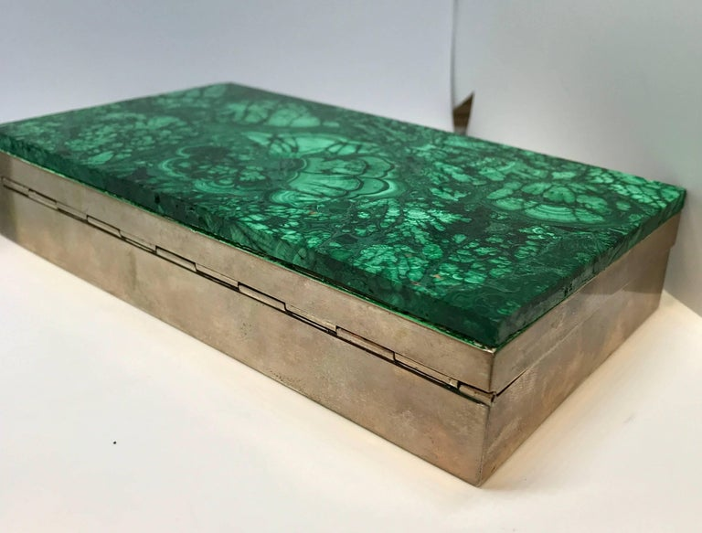 Mid-20th Century Malachite and Silver Jewelry Dresser Box, Italy, 1960s For Sale