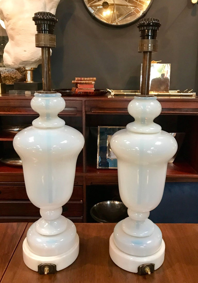 Pair of Seguso Murano glass lamps with Carrara marble base. Rewire.