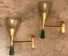 Sconces in Brass with Satin Glass Cone and More Solid Green Glass on the Base