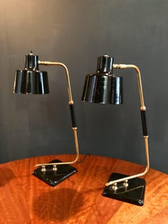 Table lamp in brass and metal base